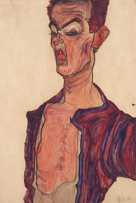Self Drawing - Self-portrait, Grimacing by Egon Schiele