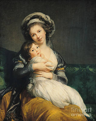 Artist Self Portrait Painting - Self Portrait In A Turban With Her Child by Elisabeth Louise Vigee Lebrun