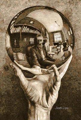 Library Digital Art - Self-portrait In Spherical Mirror By Escher Revisited - Da by Leonardo Digenio