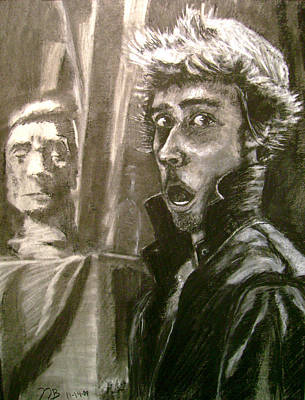 Statue Portrait Drawing - Self Portrait Vs Long Hair by Nils Beasley