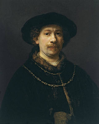 Self-portrait Wearing A Hat And Two Chains  Print by Rembrandt