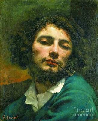 Portrait Painting - Self Portrait With A Pipe by Gustave Courbet