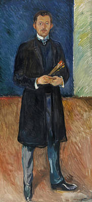 Self-portrait With Brushes Print by Edvard Munch