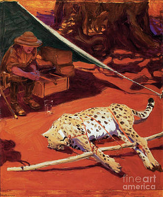 Portraits Painting - Self Portrait With Cheetah by MotionAge Designs