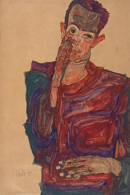 Self Drawing - Self-portrait With Eyelid Pulled Down by Egon Schiele