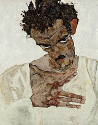 Self-portrait With Lowered Head Print by Egon Schiele