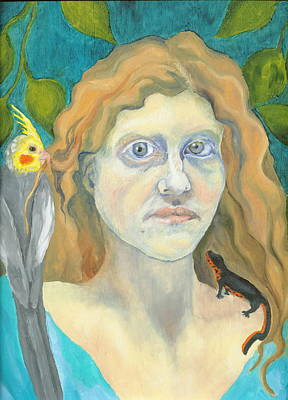 Newts Painting - Self-portrait With Spike And Andromeda by Cathy Germay