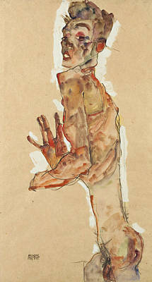 Self Drawing - Self-portrait With Splayed Fingers by Egon Schiele