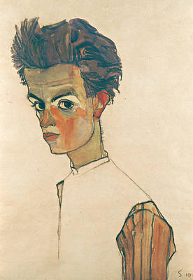 Self Drawing - Self-portrait With Striped Shirt by Egon Schiele