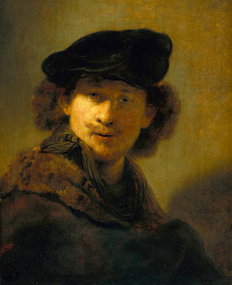 Self-portrait With Velvet Beret Print by Rembrandt