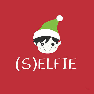 Selfie Elf- Art By Linda Woods Print by Linda Woods