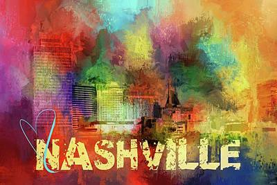 Sending Love To Nashville Print by Jai Johnson