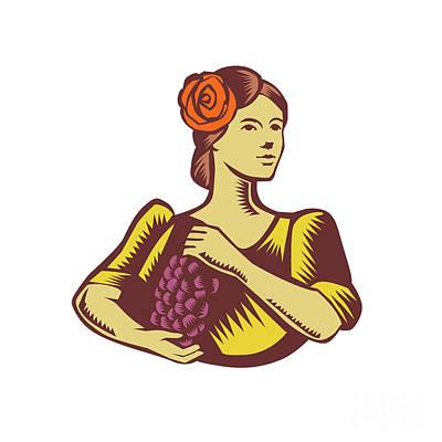 Senorita Holding Grapes Woodcut Print by Aloysius Patrimonio