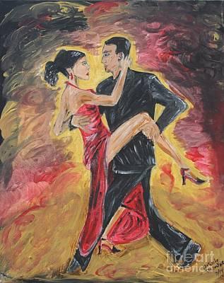Dance Floor Painting - Sensual Tango by Jasmine Tolmajian