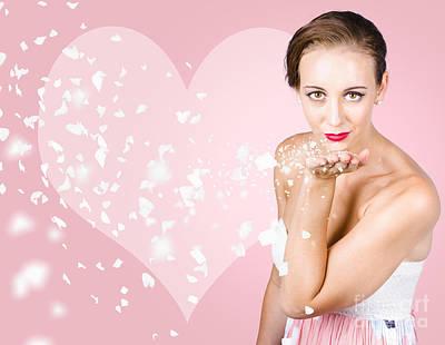 Sensual Woman Blowing Flower Petal Kiss Print by Jorgo Photography - Wall Art Gallery