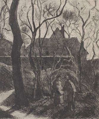 Sentier Des Pouilleux  Pontoise  Print by Camille Pissarro