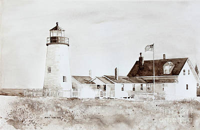 Mid-coast Maine Painting - Sepia Afternoon by Monte Toon
