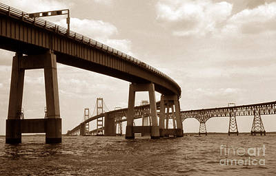 Sepia Chesapeake Bay Bridge Print by Skip Willits