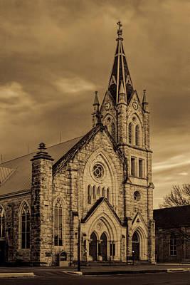 Sepia Limestone Church Original by Linda Phelps