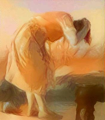 Hair-washing Painting - Sepia Sketch Life Drawing Woman Cleaning Hair Bent Over Washing Lake Old by MendyZ