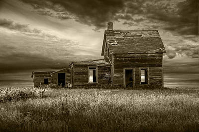 Sepia Tone Of Abandoned Prairie Farm House Print by Randall Nyhof