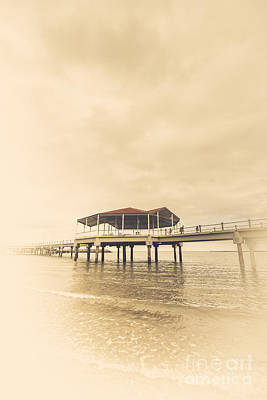 Wooden Platform Photograph - Sepia Toned Image Of A Vintage Marine Pier by Jorgo Photography - Wall Art Gallery