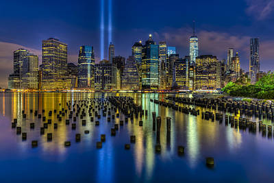 New York City Skyline Photograph - September 11 Nyc Tribute by Susan Candelario