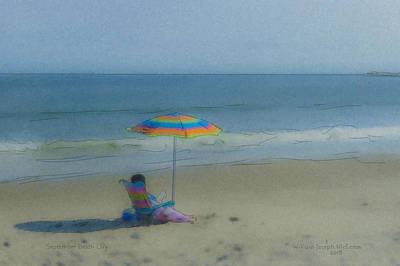 Mcentee Painting - September Beach Reader by Bill McEntee