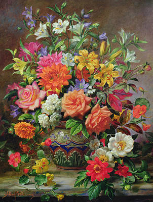 In Bloom Painting - September Flowers   Symbols Of Hope And Joy by Albert Williams