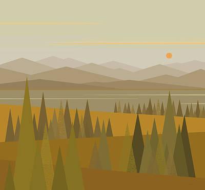 Minimalist Landscape Digital Art - September Morn by Val Arie