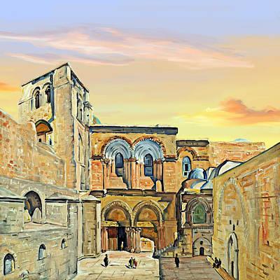 Sepulchre Painting - Sepulchre Church Painting 1928 by Munir Alawi