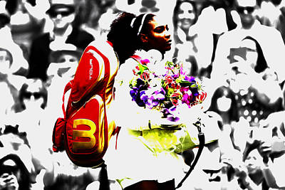 Us Open Mixed Media - Serena Williams 2f by Brian Reaves