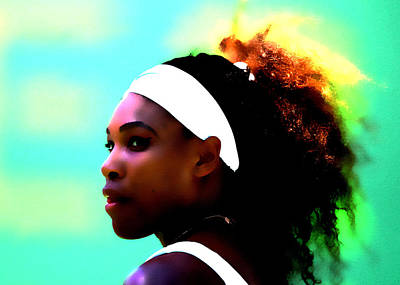 Venus Williams Mixed Media - Serena Williams Deep Focus by Brian Reaves