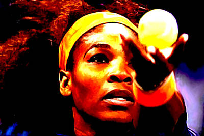 Venus Williams Mixed Media - Serena Williams First Round by Brian Reaves