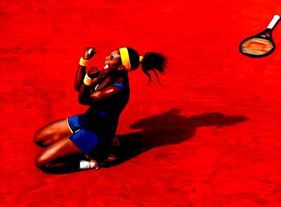 Us Open Mixed Media - Serena Williams French Open Victory by Brian Reaves