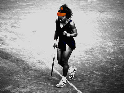 Serena Williams Match Point 3a Print by Brian Reaves