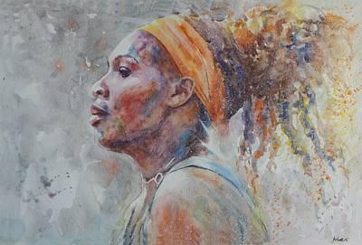 Serena Williams - Portrait 3 Original by Baresh Kebar - Kibar