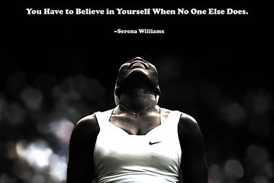 Us Open Mixed Media - Serena Williams Quote 2a by Brian Reaves