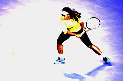 Serena Williams Mixed Media - Serena Williams Soft Touch by Brian Reaves