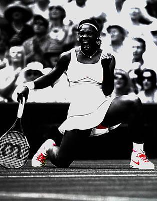 Venus Williams Mixed Media - Serena Williams Victory by Brian Reaves