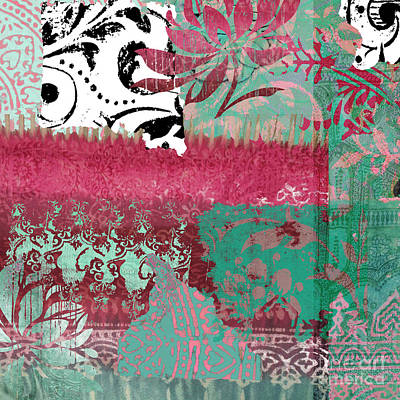 Tapestries - Textiles Painting - Serendipity Damask Batik I by Mindy Sommers