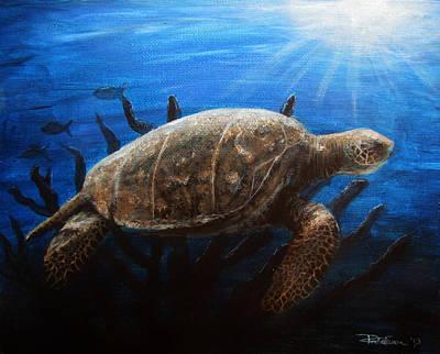 Hawaii Sea Turtle Painting - Serenity by Danielle Trudeau