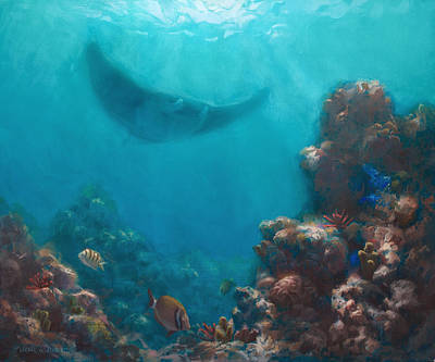 Under The Ocean Painting - Serenity - Hawaiian Underwater Reef And Manta Ray by Karen Whitworth