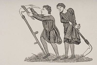Serfs Labouring Fields With Scythes Print by Vintage Design Pics