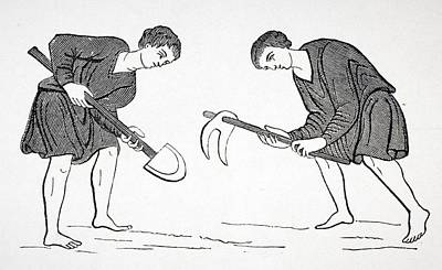 Serfs Labouring In Fields With Hoe And Print by Vintage Design Pics