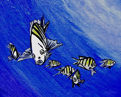 Fish Underwater Painting - Sergeant Major Fish by W Gilroy