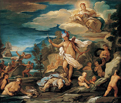 Painting - Series Of The Four Parts Of The World. America by Luca Giordano