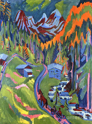 Mountain Valley Painting - Sertig Path In Summer by Ernst Ludwig Kirchner