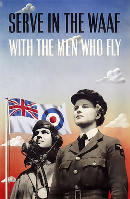 At Poster Digital Art - Serve In The Women's Auxiliary Air Force W A A F  1941  by Daniel Hagerman