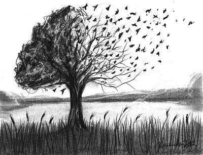 Changing Leaves Drawing - Set Free by J Ferwerda